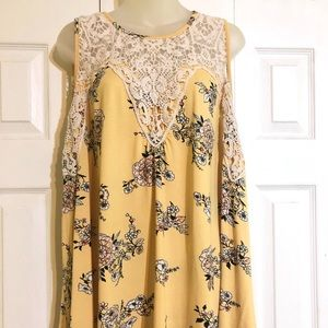 Maurices Yellow Floral Tank with Crochet Detailing